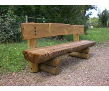 Banc en bois rustique avec dossier Limousin, fabriqué en France par CIHB.