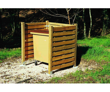 Cache conteneur en bois simple, fabriqué en France par CIHB