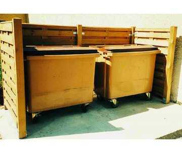 Cache conteneur en bois double pour 2 poubelles, fabriqué en France par CIHB
