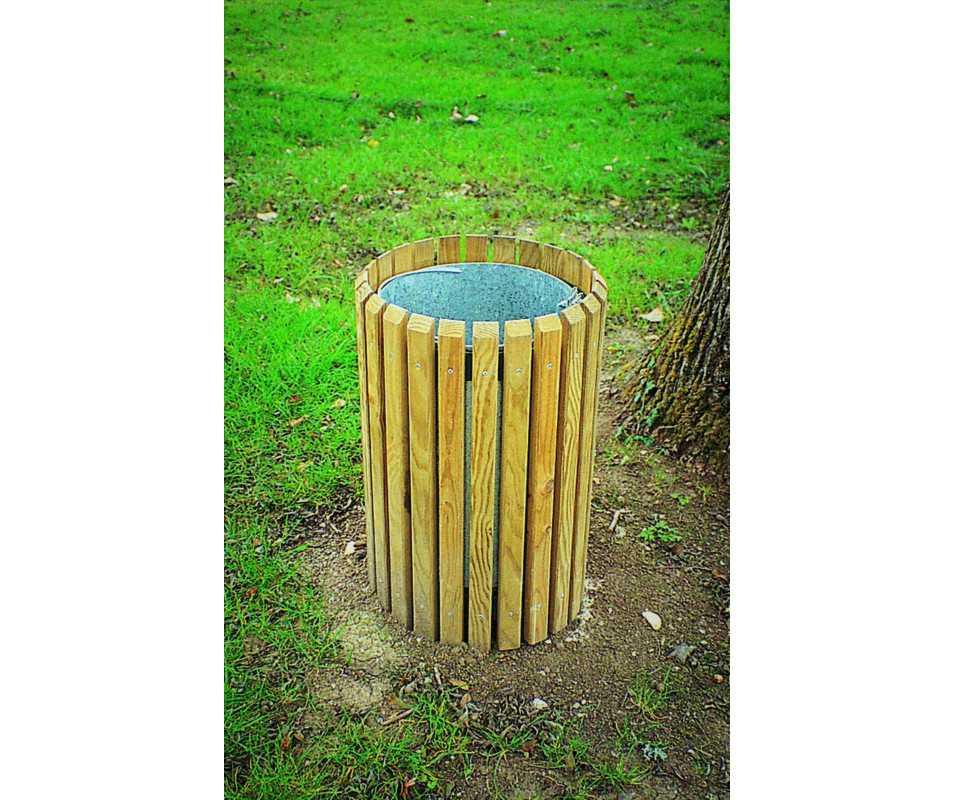 Corbeille en bois 50 litres avec sceau amovible fabriquée en France par CIHB