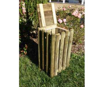 Corbeille en bois 60 litres, ouverture par le haut.