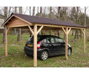 Carport bois voiture fabriqué en France par CIHB