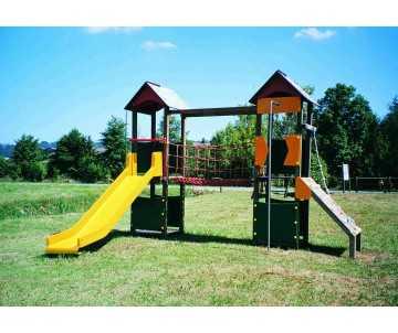 jeu pour collectivités et aires de jeux-citadelle d'Elodie avec pont suspendu