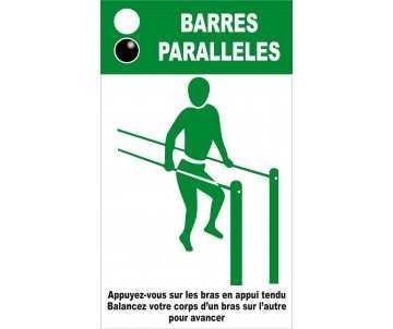 Panneau silhouette pour barres paralleles pour jeux de plein air; et parcours de santé.