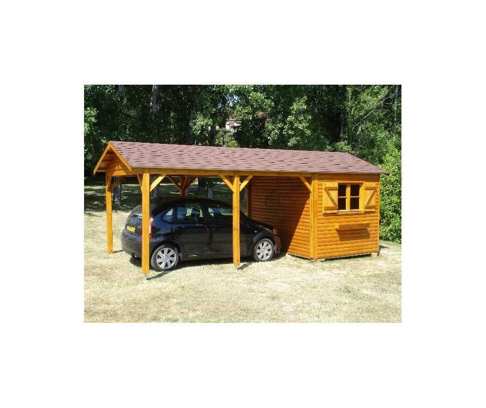 abri pour voiture en bois, le deux en un.